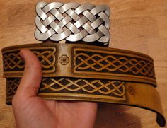 Celtic leather belt hand tooled custom order by Gemsplusleather, $180.00