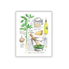 Basil pesto recipe poster, Italian food watercolor print, Kitchen wall art, Culinary illustration, G Kitchen Prints, Kitchen Wall Art, Watercolor Food, Watercolor Print, Watercolor Illustration, Salsa Pesto, Basil Pesto Recipes, Green Kitchen Decor, Italian Theme