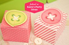 Sew Cute Button Favor Box : Pink Button With Stripes // Diy Printable Cute As A…