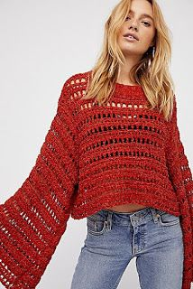 Free People Caught Up Bell Sleeve Crochet top, Sz Small, Terracotta/Rust Crochet Clothes, Diy Clothes, Red Sweaters, Sweaters For Women, Ärmelloser Pullover, Crochet Stitches Patterns, Cardigan Pattern, Crochet Fashion, Beautiful Crochet