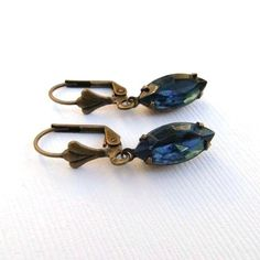Vintage Montana Blue Jewel Glass Marquis and Brass by TheSilverDog, $10.00