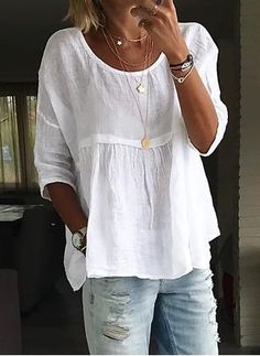 Plus Size Solid Casual Round Neckline Sleeves Blouses - White Source by floryday clothes fashion closet Blouse Styles, Blouse Designs, Boho Fashion, Fashion Outfits, Womens Fashion, Fashion Blouses, White Fashion, Fashion Fall, Mode Outfits