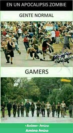 "I don't speak Spanish but to those who have no clue whatsoever it says. ""During a zombie apocalypse"" The normal people....then THE GAMERS"