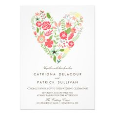 WHIMSICAL SPRING FLORAL HEART WEDDING INVITATION