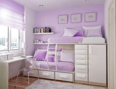 Such a cute and classy girls room. I love the white and lavender. Its so organized and a huge space saver.
