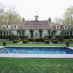 Country home. Sage green home, wood shingles, dormers, ivy, pool. David Easton's former home Outdoor Spaces, Outdoor Living, Pool Houses, House Goals, Jacuzzi, Architecture Details, Classical Architecture, My Dream Home, Curb Appeal
