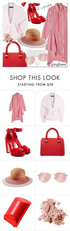 """Check Mate: Gingham Dress"" by jan31 ❤ liked on Polyvore featuring Marques'Almeida, Balmain, Alexander McQueen, Victoria Beckham, Missoni Mare, Ray-Ban, Bobbi Brown Cosmetics, Spring, red and sandals"