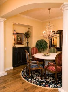 Get a fresh idea on redesign for your dinning room lighting. Incorporate a bold chandelier as the focal point for your room. Using a chandelier helps to reduce clutter, and bring in the feeling of space and openness in the room.