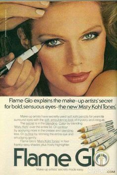 Retro Makeup patti hanson oh so So glad I was a teen during this decade, loved every second of the styles! Vintage Makeup Ads, 70s Makeup, Retro Makeup, Vintage Ads, Vintage Stuff, Vintage Designs, Patti Hansen, Vintage Black Glamour, Vintage Beauty