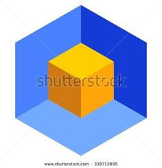 Vasarely cube illustration, blue and yellow logo design element, optical illusion