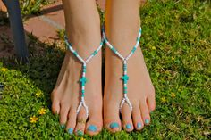 White Silver and Turquoise Cross Barefoot Sandals by HouseOfBlaise