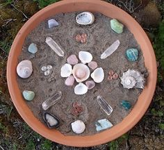 Ocean grid (sand, shells, crystals, stones, triskelions, in a terracotta saucer)
