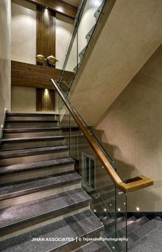 Contemporary Style Homes, Earthy, Glass Railing, Staircase Ideas, Railings, Workplace, Architects, Stairs, Home Decor