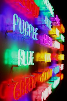 Light; Flourescent- the lights in the sign are flourescent and bright.