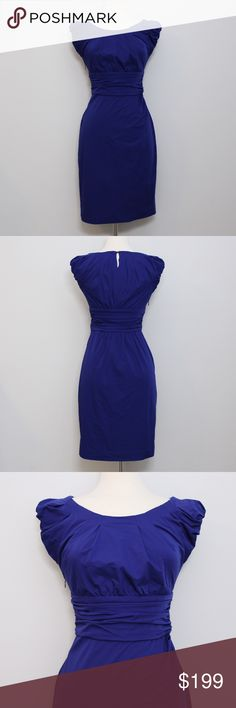 """DVF Rare """"Jamila"""" Dress in Royal Blue *RARE* Bust: 15"""" (laying flat) Length: 35"""" (shoulder to hem) Waist: 17"""" (laying flat)  Cap sleeves, pleats at the wide neck and a single-button keyhole at the back. Ruching and thick ruched banding at the waist. Pleats at left hip and hidden zipper on the side. Elastic cuffs. Lined at bodice. Great, like new condition. No holes, stains or imperfections. Comes from a smoke free environment.  Bundles welcome ❌NO trades, please. ⚡️Same/Next day shipping…"""