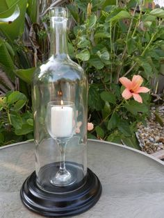 Different... even for wine bottle candle holders. A wine glass INSIDE a bottle.