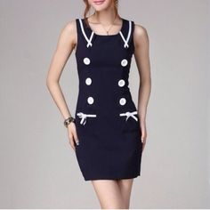 """""""Sailor"""" Nautical Faux Button Navy Blue Dress Nautical dress with faux buttons. Super cute and fun. Runs a size small or two small depending on bust size. Back zipper. No stretch. Brand new without tags. Bare Anthology Dresses"""
