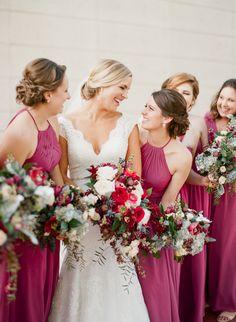 Bridesmaids looking fab in maroon dresses: http://www.stylemepretty.com/florida-weddings/2017/03/17/berry-blue-winter-wedding/ Photography: Emily Katharine - http://www.emilykatharine.com/