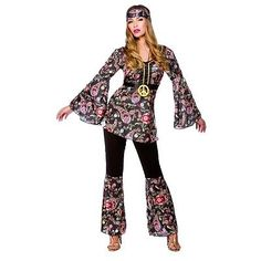 HIPPY HIPPIE peace loving 1970s 70s womans fancy dress costume outfit in Clothes, Shoes & Accessories, Fancy Dress & Period Costume, Fancy Dress   eBay