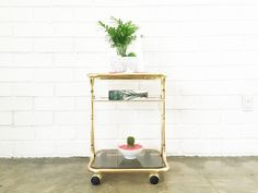 Vintage Brass Side Table Cart With Smoked Glass And Shelf