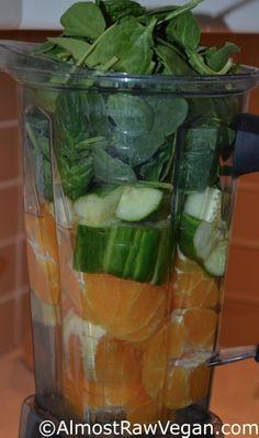 Citrus Glow Smoothie: orange, pumpkin seeds, cucumber and spinach