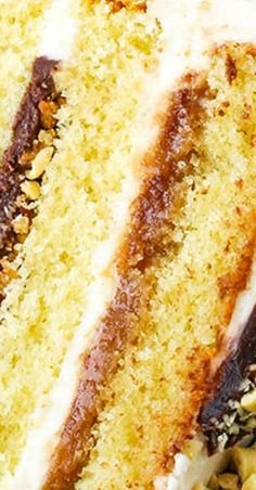 This Drumstick Layer Cake is made with layers of moist vanilla cake, caramel sauce, chocolate ganache, vanilla buttercream, peanuts and waffle cone pieces! Best Cake Recipes, Raw Food Recipes, Dessert Recipes, Desserts, Amazing Recipes, Cupcake Recipes, Delicious Recipes, Poke Cakes, Drip Cakes