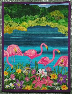 'Famished Flamingos Feasting on Feathery Flora' by Susan Willis –  Won Third Place in the Miniature Quilt category at the Austin Area Quilt Guild Quiltfest 2012