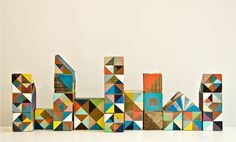 Playful triangles - painted wooden blocks by Serena Mitnik-Miller. Block Painting, Painting On Wood, Joan Mitchell, Kids Wood, Illustrations, Beautiful Buildings, Wood Blocks, Collages, Hand Painted