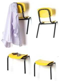 Repurpose School Chairs into Hangers and Shelves