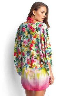 Floral Print Silk Kaftan Cover Up - Souvenir® - 4