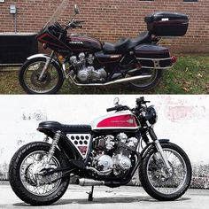 Before and After: 1979 Honda CB750 by Bob Ranew (@branew) of Redeemed Cycles. Picked up for $750 outside of Raleigh. The owner had moved down from West Virginia and had dragged the bike with him. It would crank but wouldn't stay running and it was covered in oil and the clear coat was chipping and peeling. More story, more photos at dimecitycycles.com/blog –––––––––––––––––––––––––––––––––––––––– #mybikebuild #build #ride #motorcycles #Honda #DIY #custommotorcycle #vintagemotorcycle…