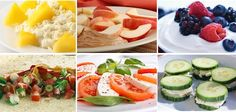Healthy Snacks:  Pineapple with cottage cheese,  Apple with peanut butter,  Greek yoghurt with berries,  Tortilla Rollup with veggies  Tomato with Mozzarella  Turkey & cucumber slices.  View more useful Info in: https://www.facebook.com/pages/Reduce-Tummy-Fat-Info/1350005601807155