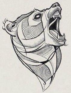 Эскиз небольшой татуировки медведя