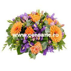 jerba funerara irisi, trandafiri si gerbera, in nuante puternice de portocaliu si albastru pentru un omagiu special! Gerbera, Iris, Floral Wreath, Wreaths, Decor, Floral Crown, Decoration, Door Wreaths, Deco Mesh Wreaths