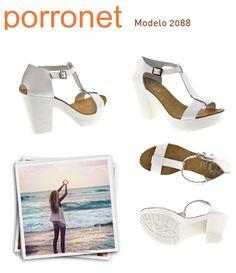 2ff2ec93 #Sandalias con tacón y plataforma de #Porronet ilumina tu verano con el  blanco!