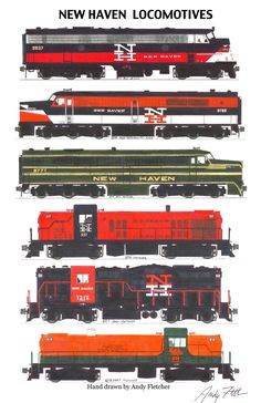 5 New Haven railroad locomotives hand drawn by Andy Fletcher
