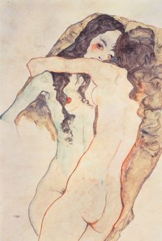 Zwei sich umarmende Frauen   Egon Schiele   1911
