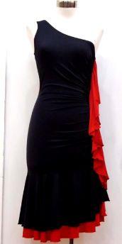 Black and Red One Shoulder Dance Dress (SKU: Aida SD250)  http://www.tangorougeballroomdancewear.com/page/ballroom-dance-dresses#