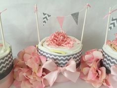 Shabby Chic Mini Diaper Cake in Pink and Gray by AllDiaperCakes