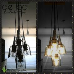 Lámpara de techo reciclada, modelo Racimo: creada con 5 botellas de vidrio transparentes dispuestas a distinta altura, con florón de madera recuperada de pallest. Chandelier, Ceiling Lights, Lighting, Ideas, Home Decor, Model, Clear Glass, Ceiling Light Fixtures, Candelabra
