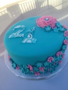 Teal and Pink Birthday Cake - Fondant with gumpaste flowers. The letters were created using a tutorial for swirled fondant I found online. 21st Birthday Cake For Girls, 40th Cake, Birthday Cake With Flowers, 21st Birthday Cakes, Birthday Ideas, Cute Cakes, Pretty Cakes, Beautiful Cakes, Amazing Cakes