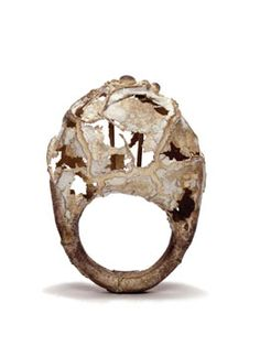 David Roux-Fouillet - ring Mineral, 2003, silver, porcelain, synthetic ruby