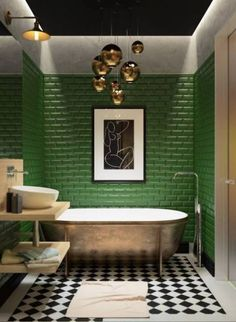 bathroom colors Kitchen Backsplash Colorful Bathroom Ideas For - Art Deco Bathroom, Bathroom Colors, Modern Bathroom, Small Bathroom, Colorful Bathroom, Bathroom Ideas, Bathroom Green, Bathroom Wall, Bathroom Things
