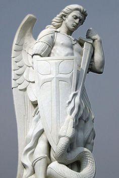 Archangel Michael Tattoo, St Michael Tattoo, Angel Sculpture, Sculpture Art, St Micheal, Saint Michael, Ancient Greek Sculpture, Statue Tattoo, Angel Warrior