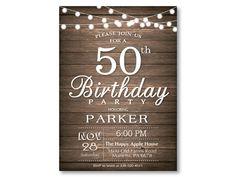 50th Birthday Invitation. Rustic 30th 40th 50th 60th 70th 80th Any Age. String…