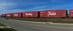 Panoramic shot of the head cars on the CP Holiday Train in Byron, IL. 12/5/12