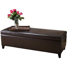 Best Selling Brown Leather Storage Ottoman Bench >>> For more information, visit image link. (This is an affiliate link) #FurnitureOttomansandStorageOttomans