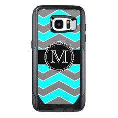 Cyan Blue, Grey, Black Chevron, Monogrammed OtterBox Samsung Galaxy S7 Edge Case