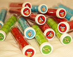 Get some plastic test tubes and put your favorite angry bird stickers on top and fill them with candies.