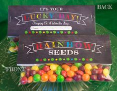 SALE - INSTANT DOWNLOAD - Chalkboard Rainbow Seeds St Patricks  Day Treat Bag Toppers - Holiday Favor Labels -  Party Digital pdf file